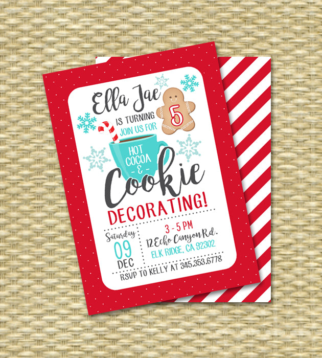 Christmas Birthday Party Invitations.Christmas Birthday Cookie Decorating Party Invitation Holiday Birthday Party Invitation