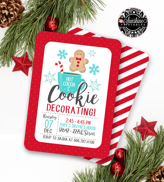 Christmas Cookie Party Invite.Christmas Cookie Decorating Party Invitation Holiday Party Invitation