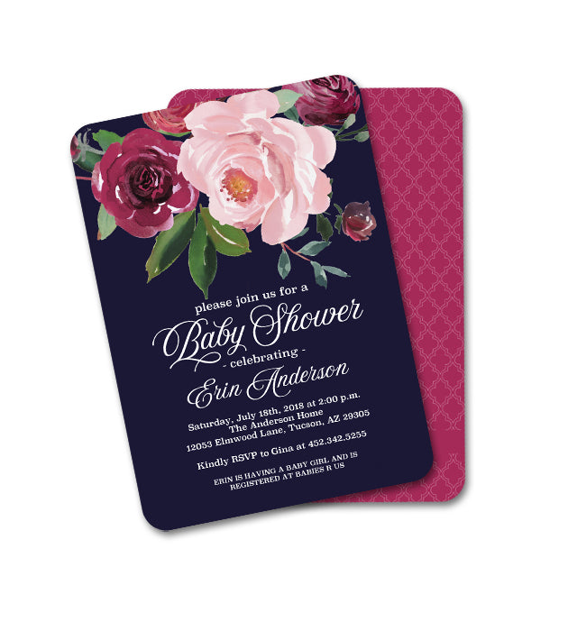 Dark Floral Baby Shower Invitation Baby Girl Navy Blue Blush Pink Burgundy Flowers