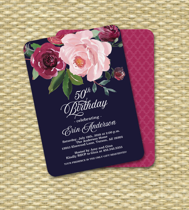 Dark Floral Girl's Birthday Invitation Blush Pink and Burgundy Flowers