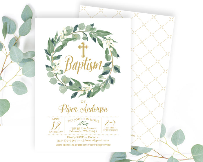 Botanical White and Gold Baptism Invitation Greenery Baptism Invite Natural and Neutral Christening
