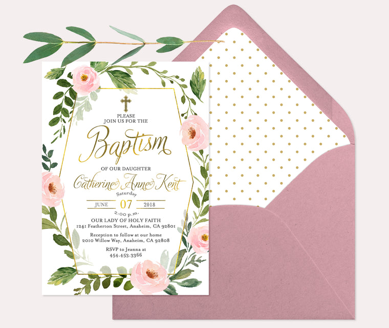 Pink & Gold Floral Baptism Invitation, Girls Baptism Invite, Baby Girl Baptism Invitation, Girl First Communion Invite, Girl Christening