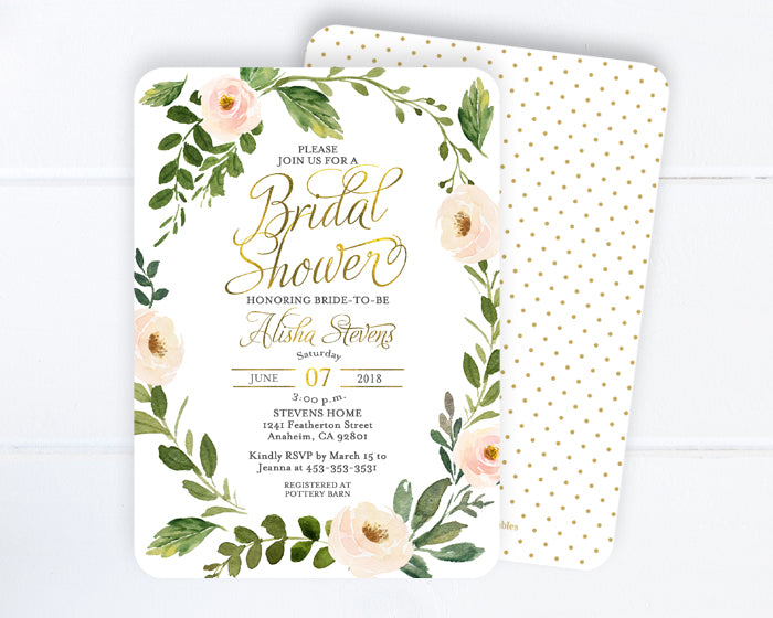 Bridal Shower Invitation, Blush Pink and Gold Floral Bridal Shower Invite, Botanical Greenery Bridal Shower Invitation, Bridal Invitation