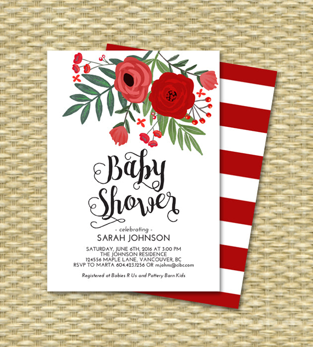 Christmas Baby Shower Invitation Hand Drawn Red Flowers