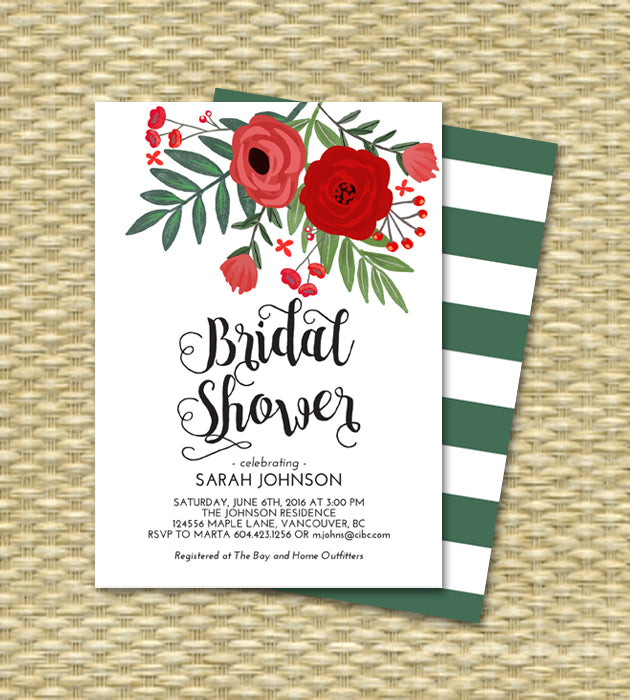 Christmas Bridal Shower Invitation Hand Drawn Red Flowers