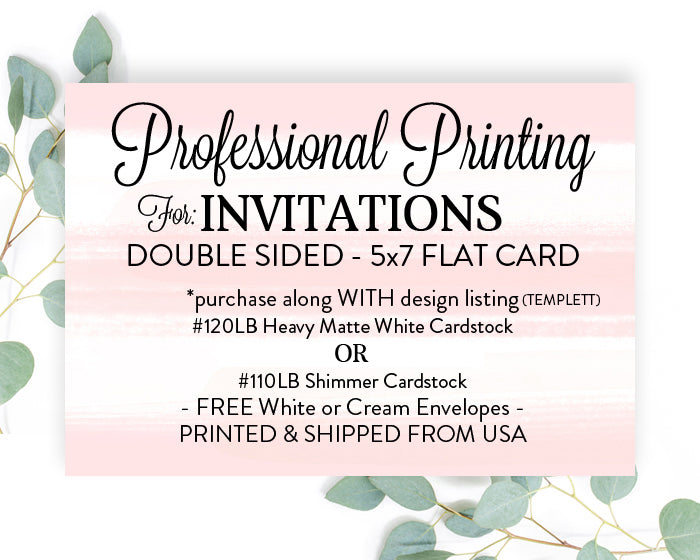 Printed Invitations 5x7 with Envelopes, Printed 5x7 Invites, Print My Design