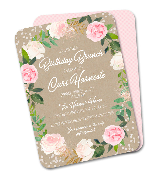 Rustic Kraft Pink Floral Wreath and Greenery Birthday Invitation