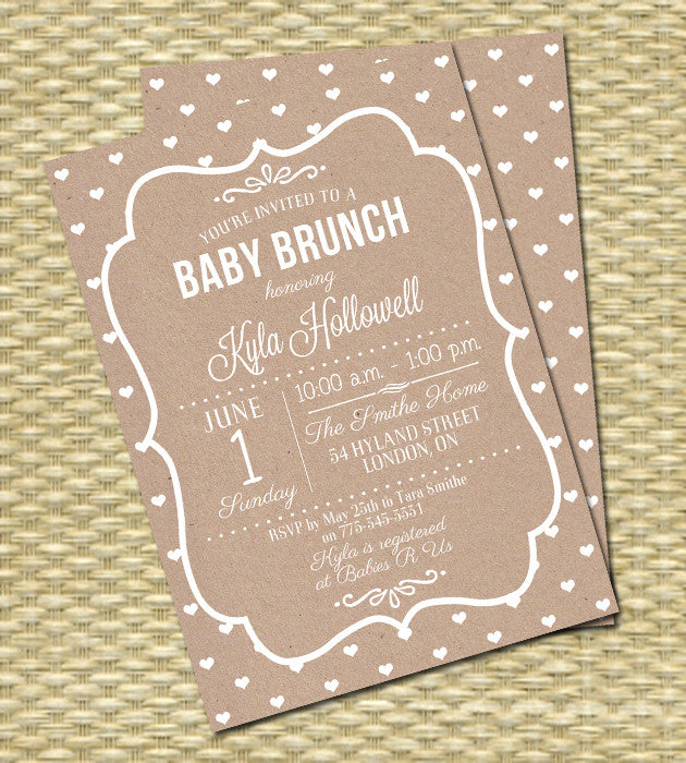 Baby Shower Invitation Kraft White Pink Hearts Typography Style Baby Girl Shower Gender Neutral Any Colors ANY EVENT Baby Sprinkle