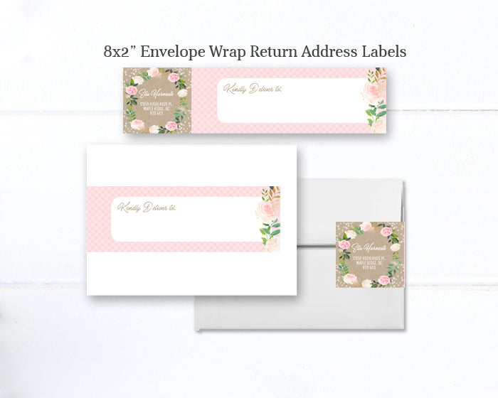 Rustic Kraft Pink Floral Wreath and Greenery Bridal Shower Invitation