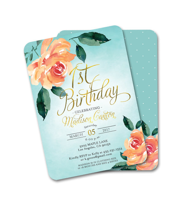 Bridal Shower Invitation Aqua and Peach Peonies Floral Invitation