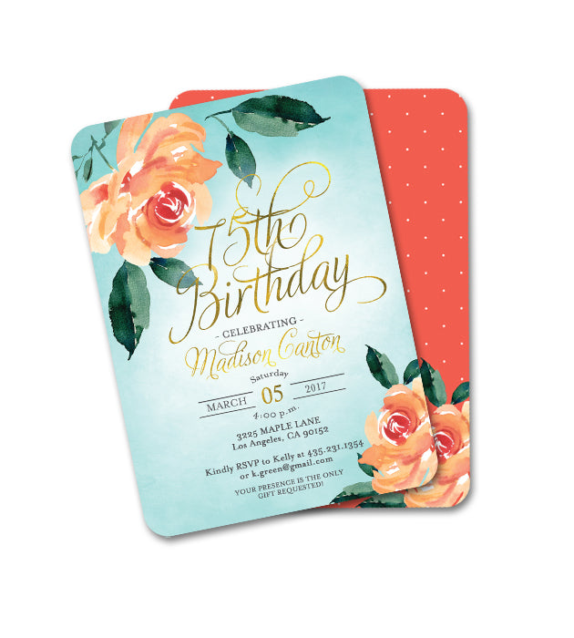 Aqua and Peach Peonies Floral Birthday Invitation ANY AGE