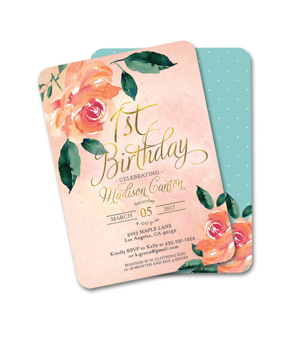 Bridal Shower Invitation Peach and Aqua Peonies Floral Invitation