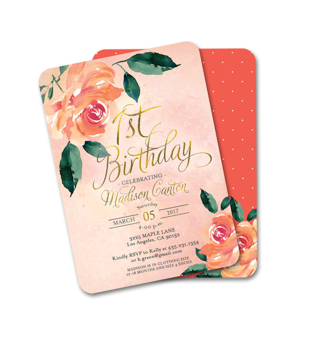 1st Birthday Peach And Aqua Peonies Floral First Invitation ANY AGE