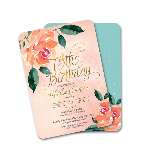 Peach and Aqua Peonies Floral Birthday Invitation ANY AGE