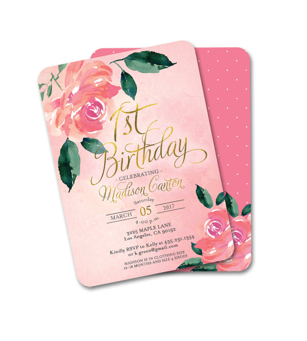 Floral First Birthday Invitation Pink Peonies Roses Girl 1st Birthday Invite ANY AGE