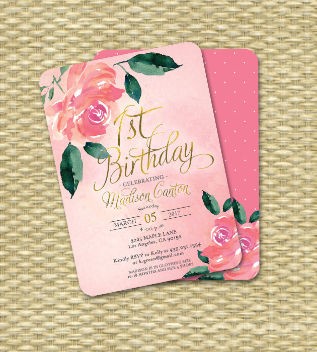 Floral Pink Peonies Roses Birthday Invitation ANY AGE