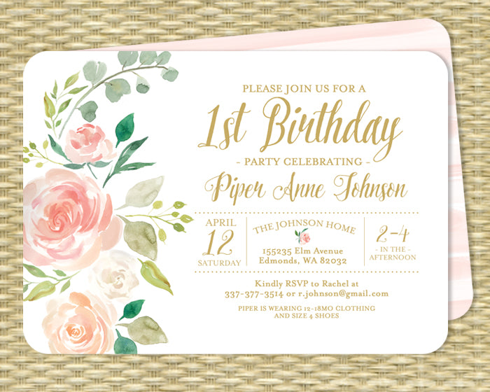 Blush Pink Floral 1st Birthday Invitation Kids Birthday Blush Pink Roses Mint Botanical Style ANY AGE