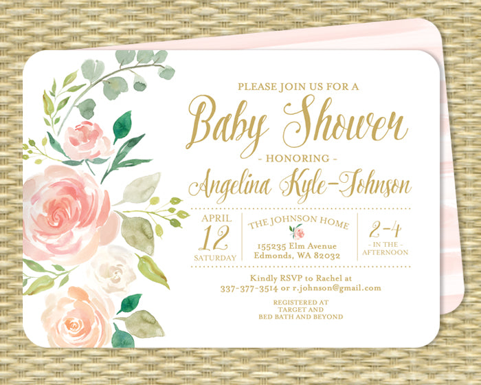 Blush Pink Floral Baptism Invitation Blush Pink Roses Mint Botanical Style ANY EVENT