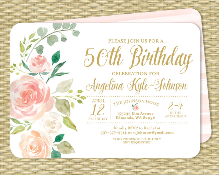 Blush Pink Floral Birthday Invitation Adult Birthday Blush Pink Roses Mint Botanical Style