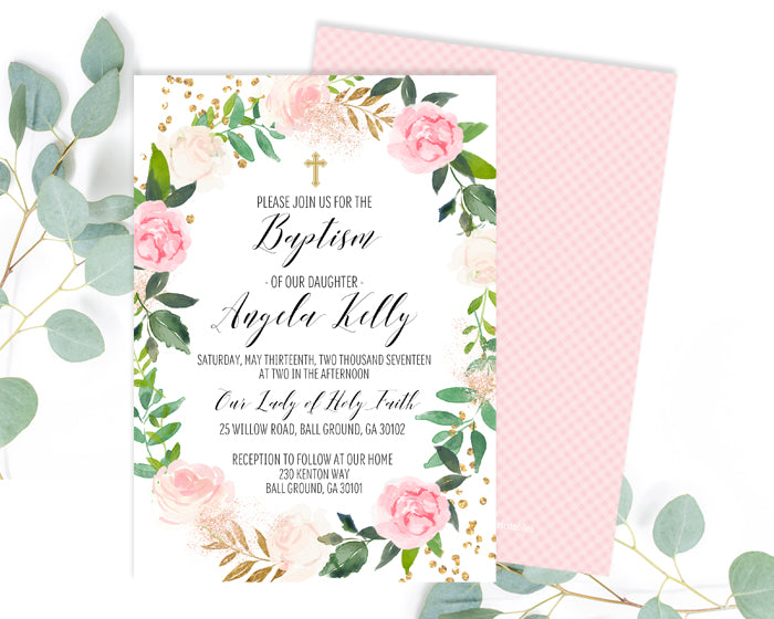 Pink Roses Floral Baptism Invitation Girl Baptism Invite Baby Girl Christening Invitation