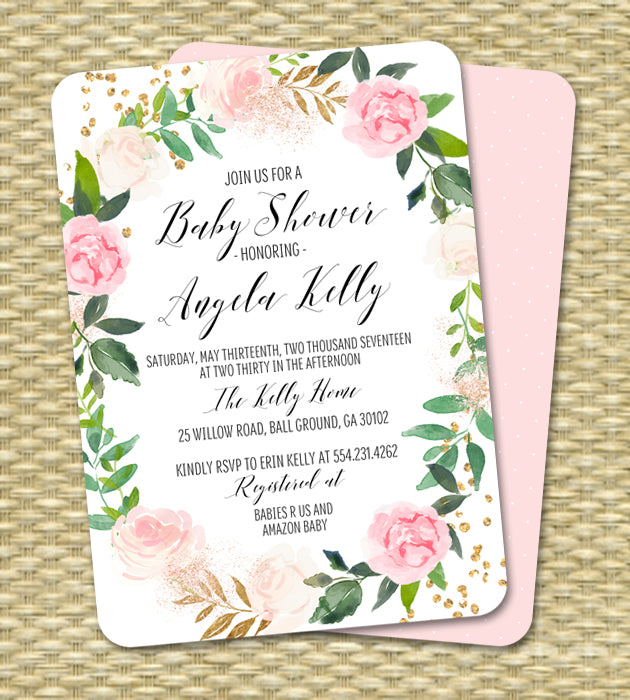White Roses Floral Wreath and Greenery Baby Shower Invitation