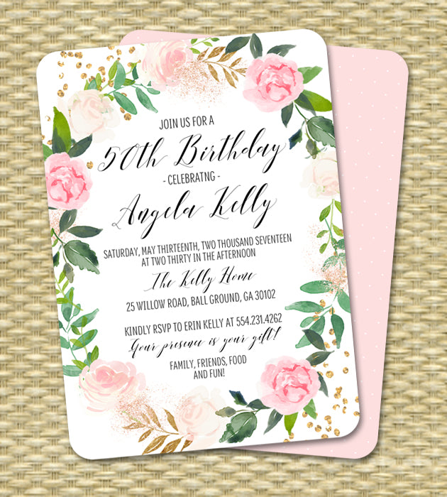 Pink Floral Wreath and Greenery Birthday Invitation