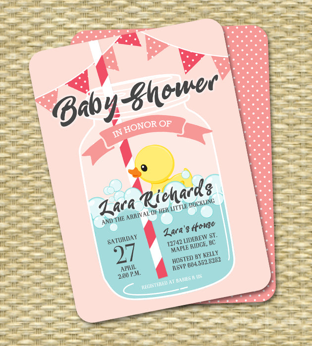 Mason jar rubber duck little ducky baby shower invitation blue mason jar rubber duck little ducky baby shower invitation blue filmwisefo