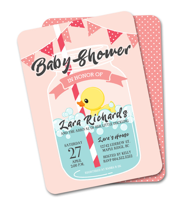 Mason Jar Rubber Duck Little Ducky Baby Shower Invitation - Pink