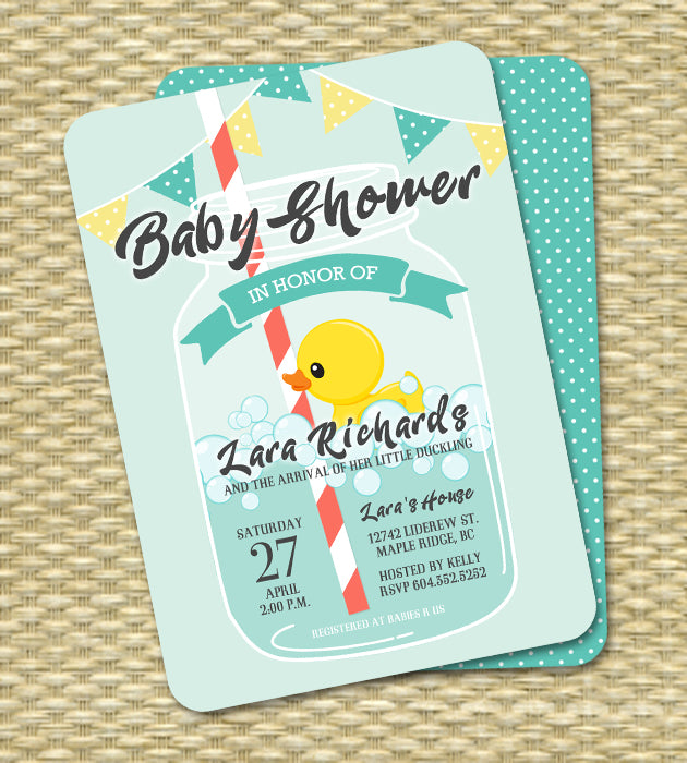Mason Jar Rubber Duck Little Ducky Baby Shower Invitation