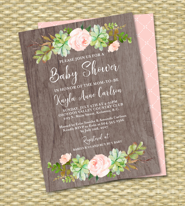 Cactus Baby Shower Invitation Succulent Baby Shower Invite Gender Neutral
