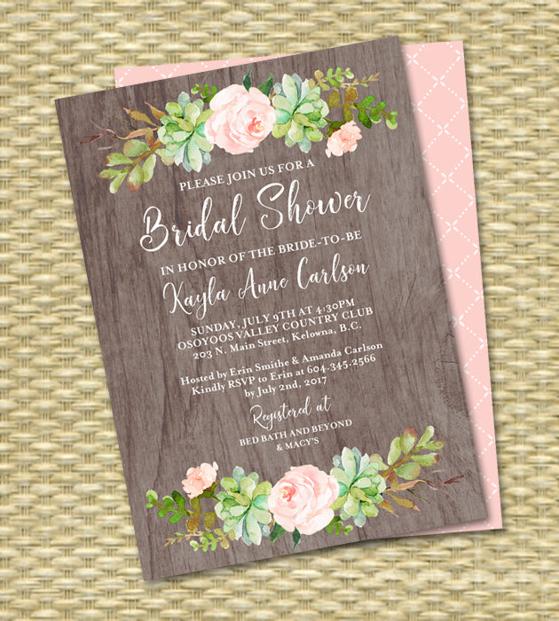 Watercolor Boho Bridal Shower Invitation Floral Succulent Cactus Rustic Bridal Shower