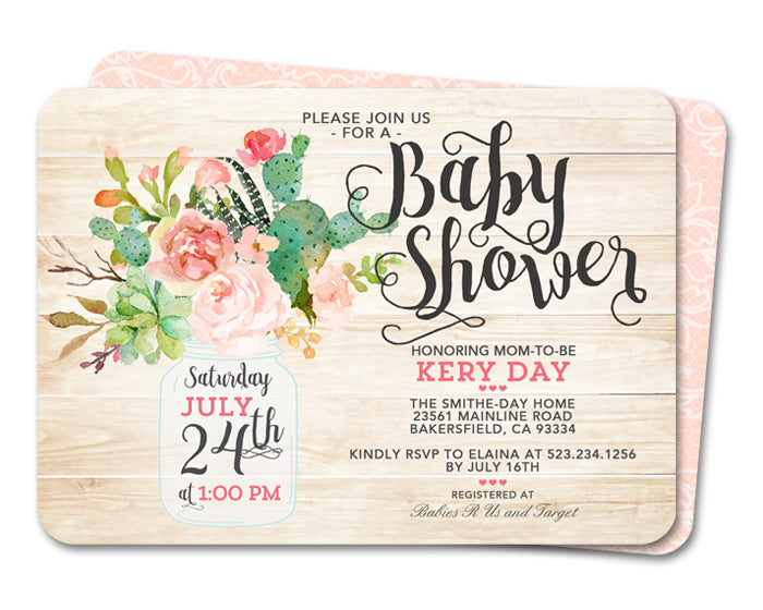 Succulent Baby Shower Invitation Boho Baby Shower Invite Floral Succulent
