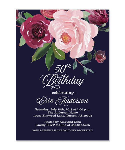 Dark Floral Adult Birthday Invitation Navy Blue Burgundy and Blush Pink Floral Invitation