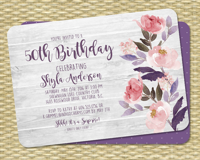 50th Birthday Invitation Watercolor Floral Peonies Rustic Wood Boho Party Shyla Any Age Event