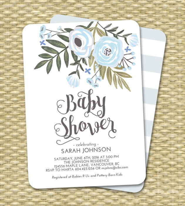 Baby Boy Shower Invitation Floral Blue Mint Boy Baby Shower Sip and See Diapers and Wipes ANY EVENT