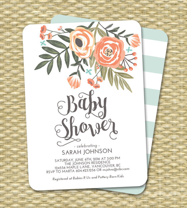 Baby Boy Shower Invitation Floral Blue Mint Sip And See Diapers Wipes ANY EVENT