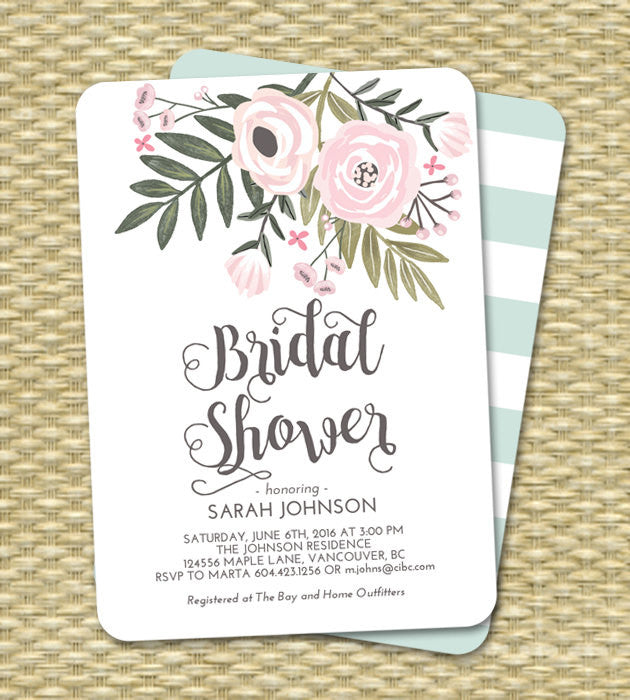 Bridal Shower Invitation Hand Painted Floral Bridal Shower Invite Pink Blush Mint Aqua Bridal Brunch Bridal Tea