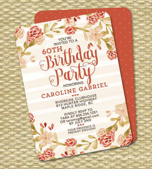 Fall Baby Shower Invitation Gender Neutral Invite Watercolor Flowers Fall Leaves Peach Blush Pink Coral ANY EVENT