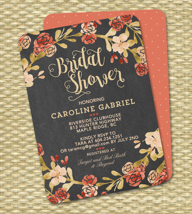 Chalkboard Fall Floral Bridal Shower Invitation Peach Blush Orange Coral Wedding Shower Couples Shower ANY EVENT
