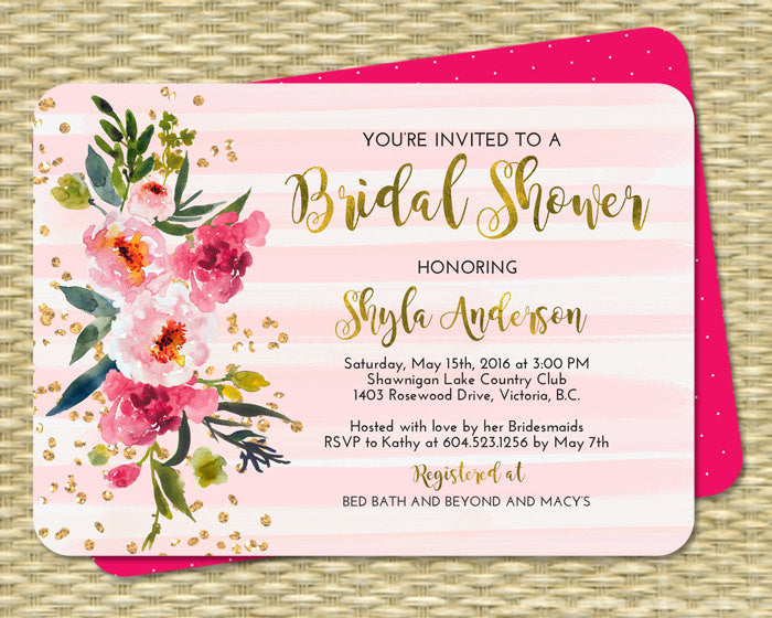 Watercolor Peony Adult Birthday Shower Invitation Gold Foil Gold Glitter Pink Hot Pink Bridal Shower Invite