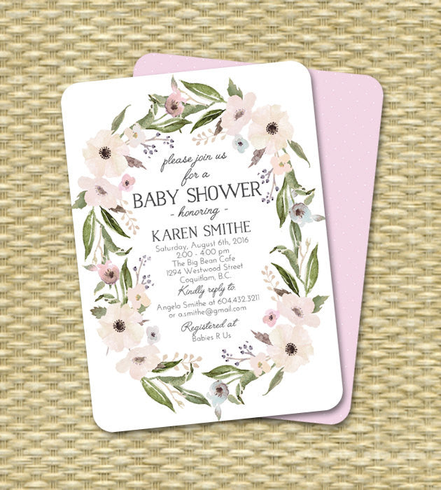 Baby Shower Invitation Gender Neutral Baby Shower Invite Floral Wreath Floral Shower Invitation ANY EVENT