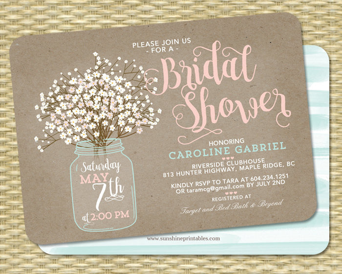 Country Bridal Shower Invitation Bridal Shower Invite Wedding Shower Rustic Bridal Shower Baby's Breath Invitation Rustic Kraft