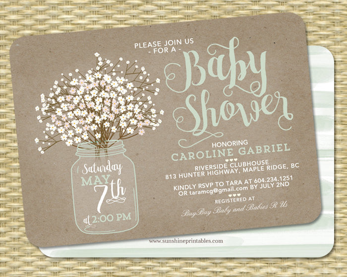 Baby Shower Invitation Baby Girl Rustic Kraft Baby's Breath Mason Jar Baby Shower Invite Baby Sprinkle