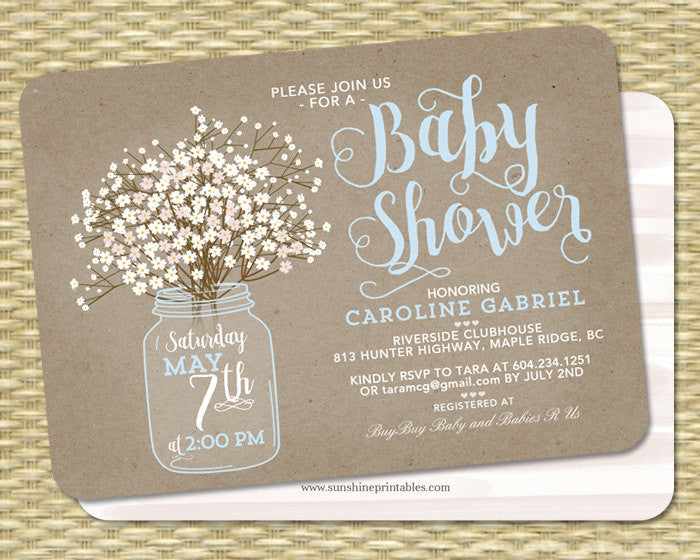 Baby Shower Invitation Baby Boy Mason Jar Baby's Breath Kraft Baby Shower Invite Baby Sprinkle