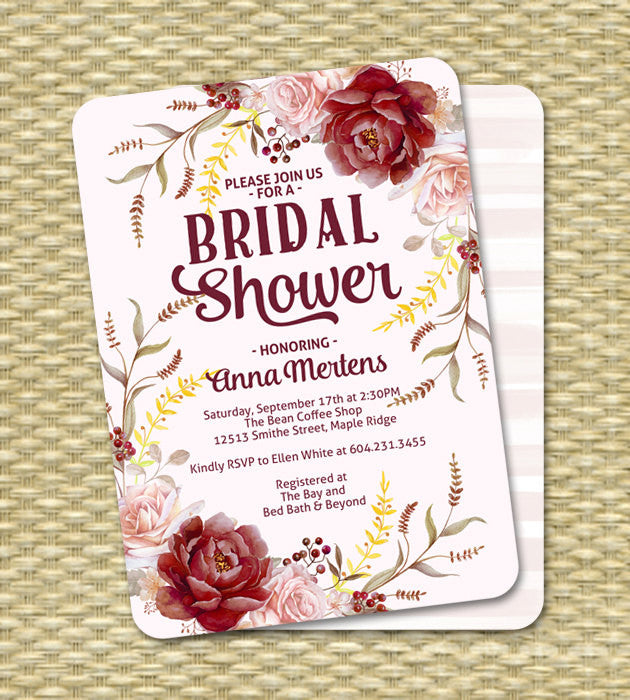 Fall Bridal Shower Invitation Bridal Tea Watercolour Floral Fall Autumn Roses Blush Pink Red Marsala ANY EVENT Any Colors