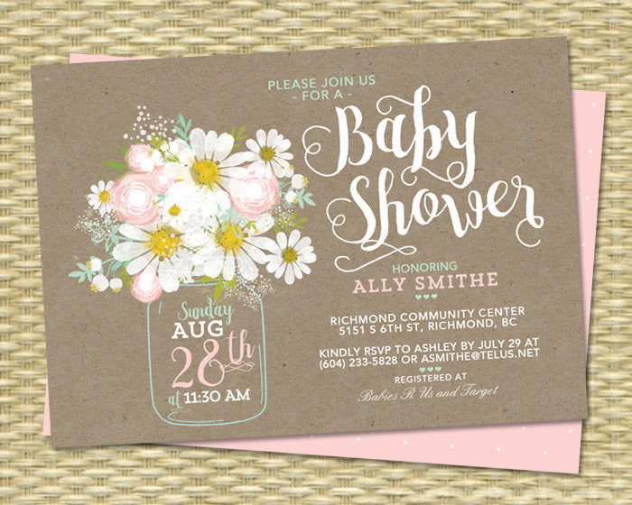 Country Baby Shower Invitation Gender Neutral Kraft Blush Pink Mint Green Baby Girl Baby Boy Sip and See Baby Sprinkle ANY EVENT