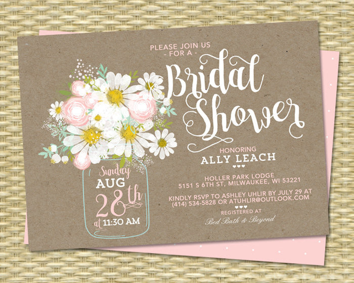 Bridal Shower Invitation Kraft Mason Jar Daisies Blush Pink Mint Green Bridal Brunch Bridal Tea ANY EVENT