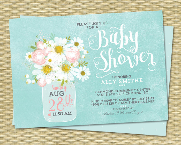 Gender neutral floral baby shower invitation daisies mason jar mint gender neutral floral baby shower invitation daisies mason jar mint green sip and see baby sprinkle any event filmwisefo