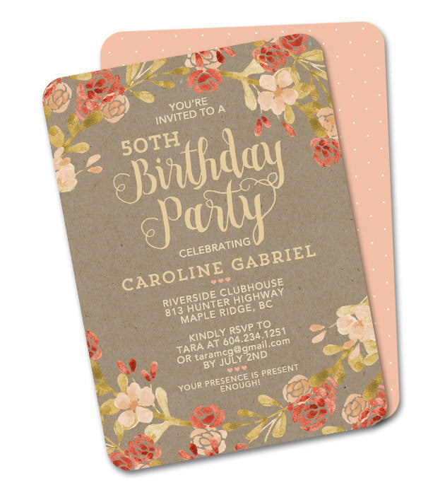 50th Birthday Invitation Adult Birthday Fall Birthday Autumn Watercolor Floral Orange Blush Pink Peach Coral Kraft ANY EVENT