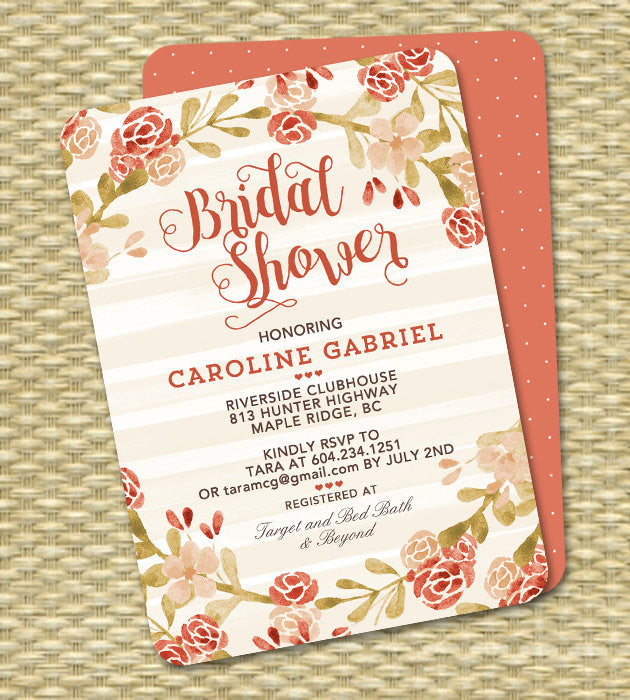 Adult Birthday Invitation Fall Floral Birthday Invite Coral Peach Blush Watercolor Floral 50th 60th Birthday ANY EVENT